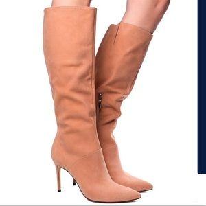 Schutz honey-beige leather knee-high boots